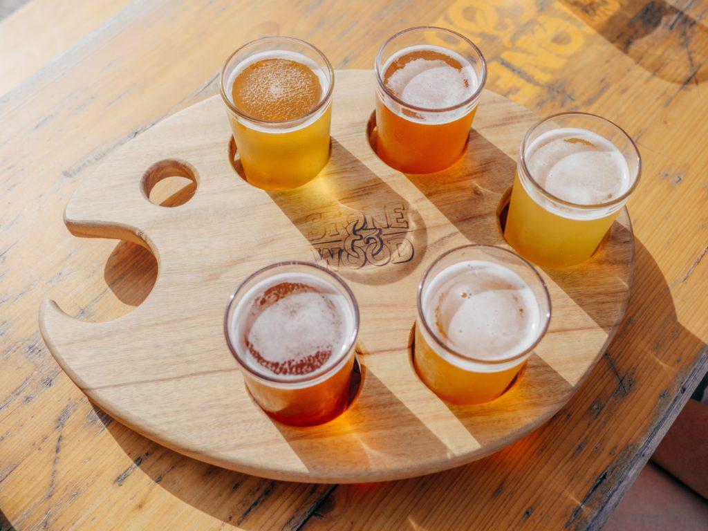 beer-filled glasses