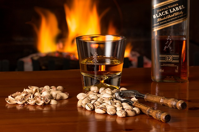 fireplace and whisky