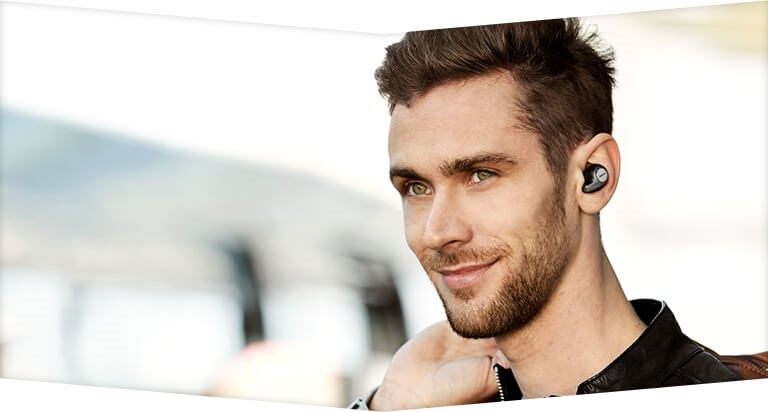 Image result for person wearing Bluetooth Headphone